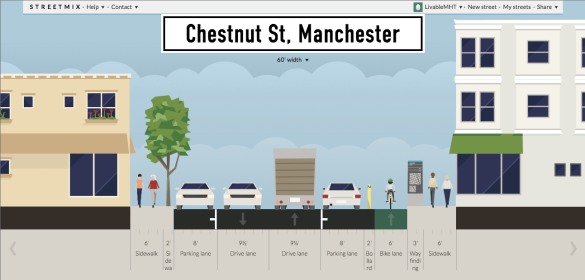 LivableMHT's redesign of Chestnut Street on Streetmix.net