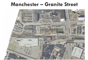 Potential location of a downtown Manchester rail station identified by the study